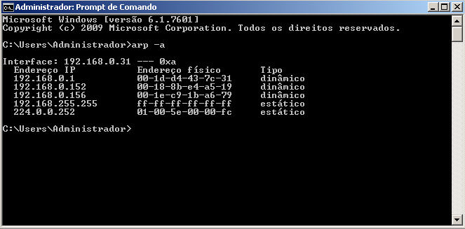 tela de retorno do comando ARP -a digitado no prompt do DOS