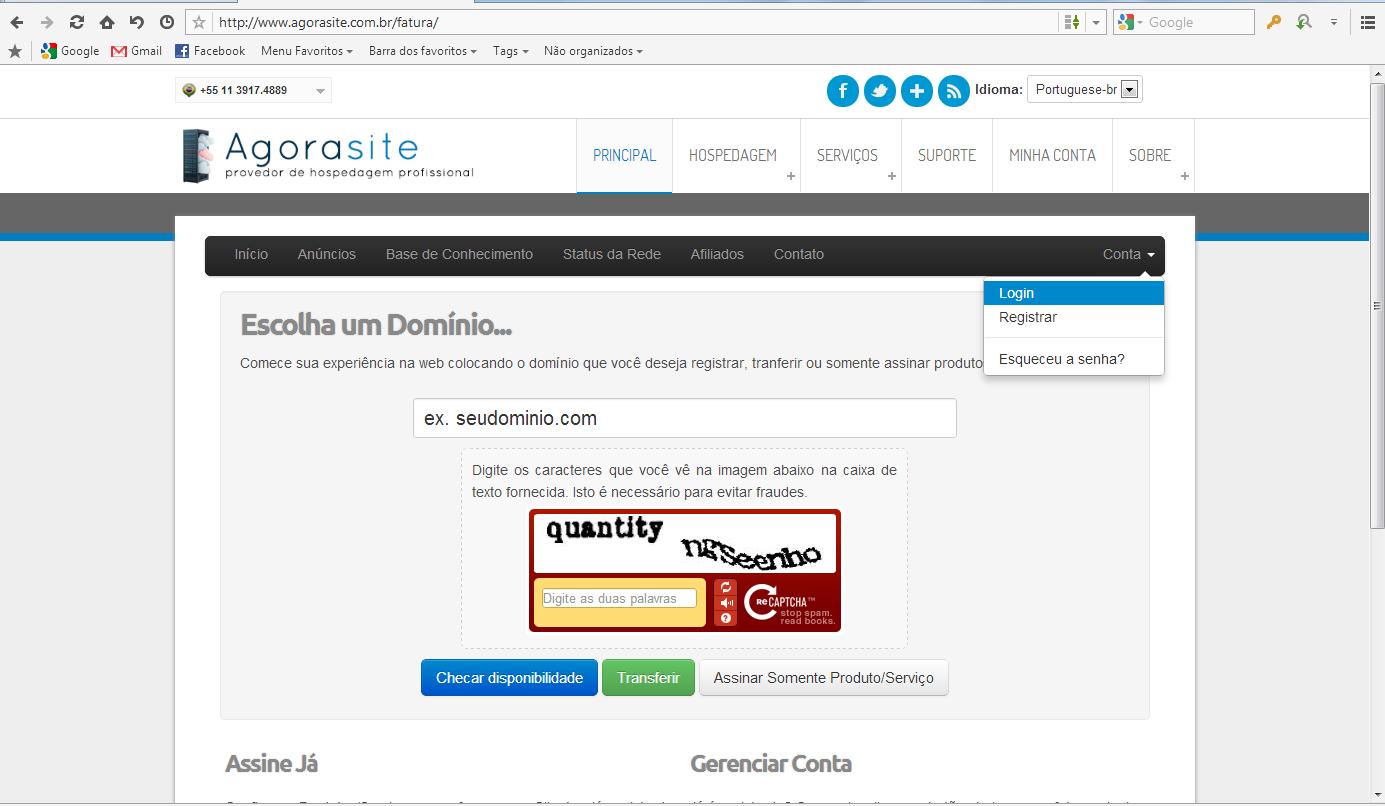 Entrar em www.agorasite.com.br/fatura